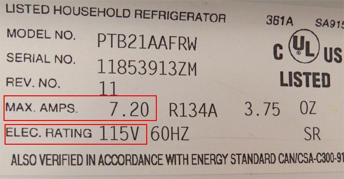 Appliance Power Label